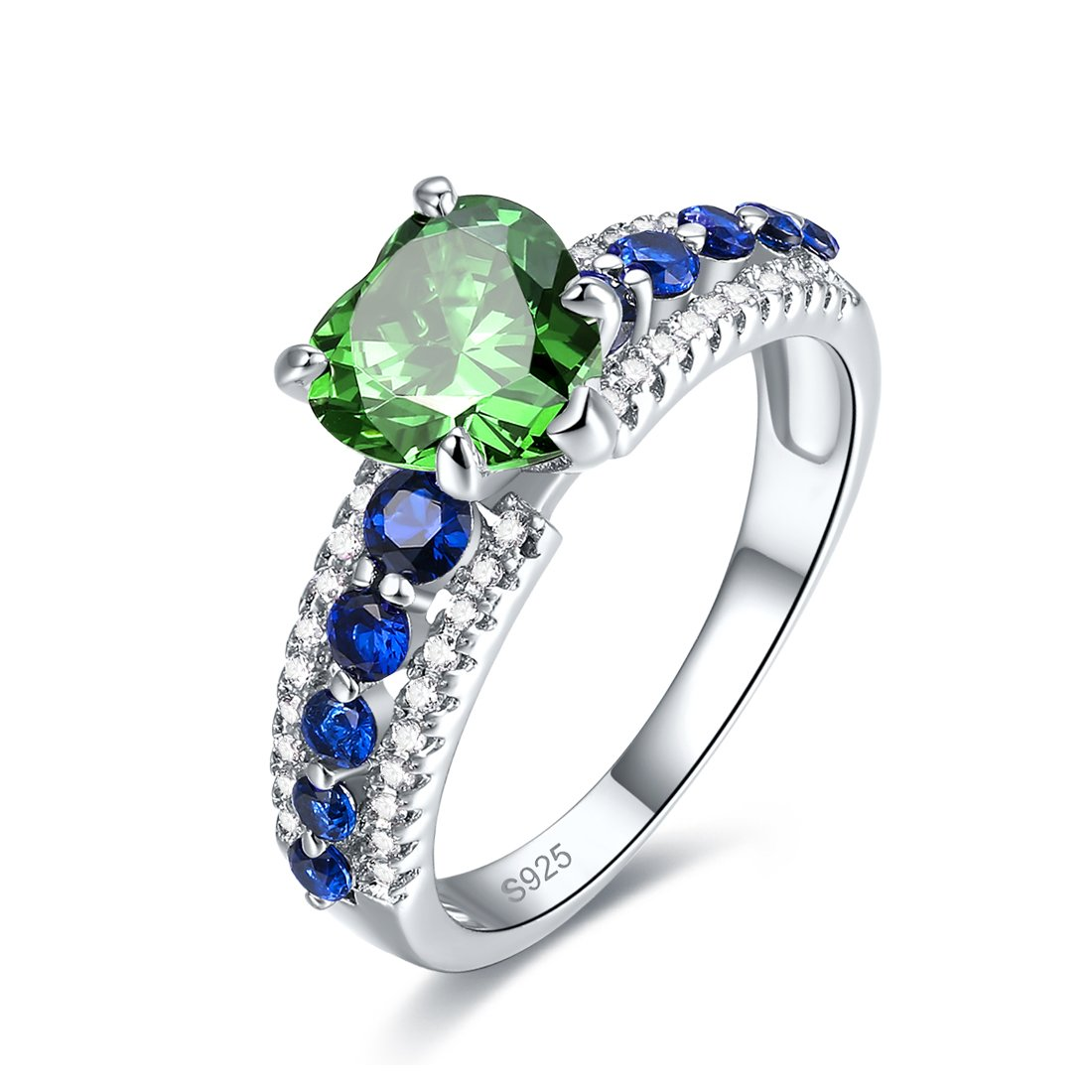 Merthus Womens 925 Sterling Silver Created Emerald Heart Engagement Ring