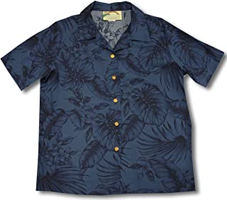 product image for Paradise Found Women's Palm Tree Leaf Aloha Shirt, Navy Blue, XXL