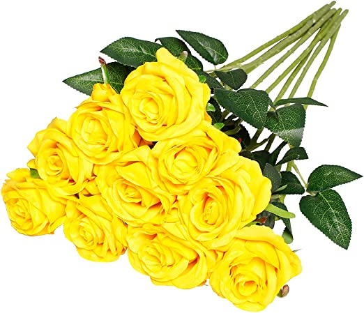 Luyue Artificial Silk Rose Flower Bouquet Wedding Party Home Decor Pack Of 10 Gradient Yellow Artificial Flowers Home Kitchen