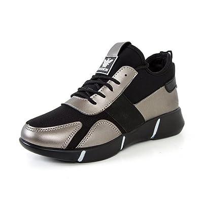 Femmes Sport Chaussures Tulle Cuir Printemps Automne Confort Sneakers Chaussures de Course à Lacets Pour Athlétique Casual Extérieur Noir Gun Couleur GAOLIXIA