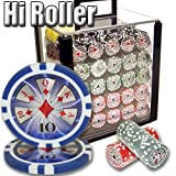 Brybelly 1,000 Ct Hi-Roller Poker Set - 14g Clay Composite Chips with Acrylic Display Case for Casino Games