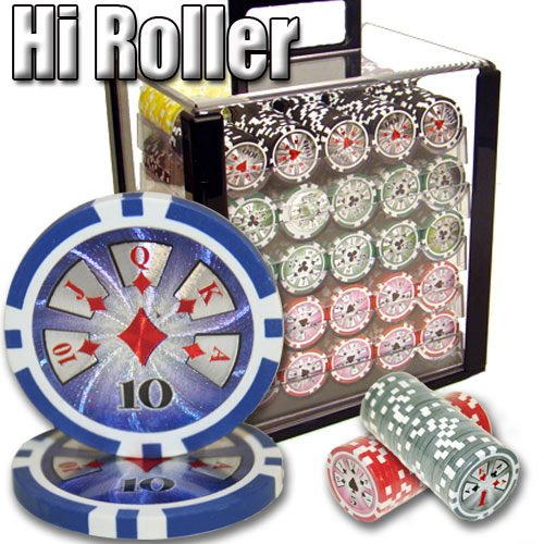 1000 Hi Roller Acrylic Poker Chip Set. 14 Gram Heavy Weighted Poker Chips. by Heavy Weight