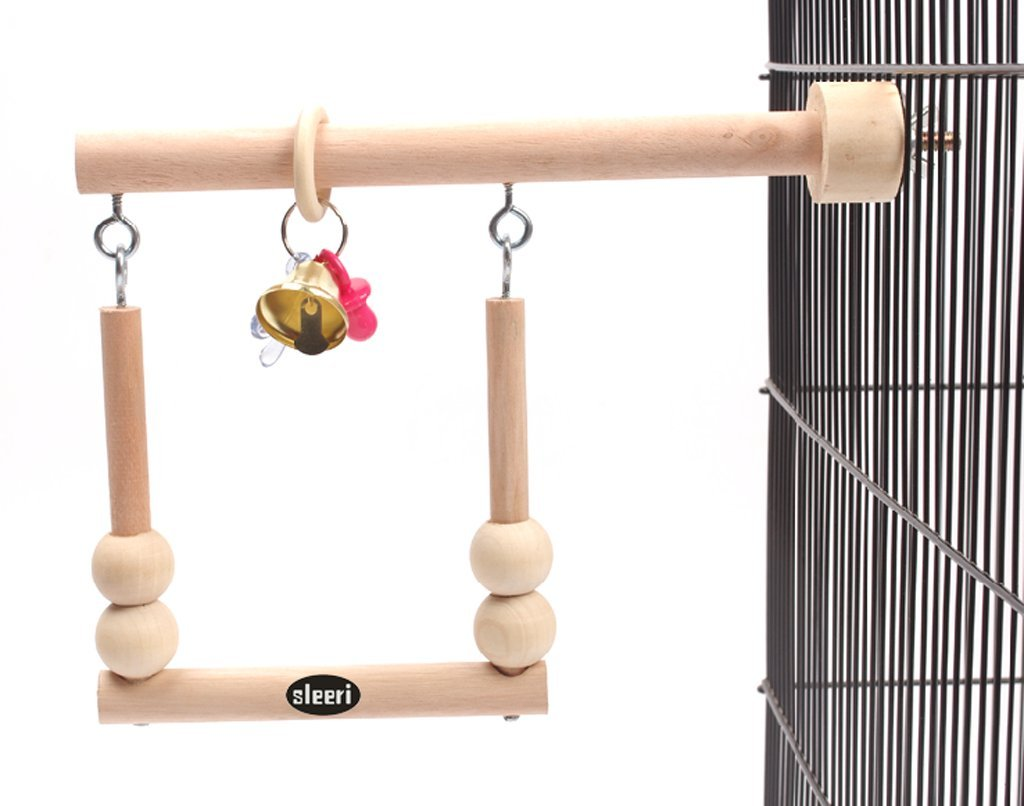 Wood Bird Cage Accessories Wooden Parrot Perch Stand Birdcage Stands Pet Parakeet Budgie Hanging Play Toy (A)