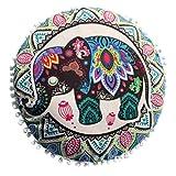 FAPIZI Pillow case❀43x43cm Indian Mandala Floor Pillows Round Bohemian Cushion Pillows Cover Case Cushions (A)