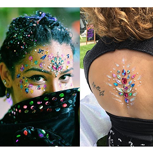 Face Jewels, HITOP 6 Pack Body Jewels with 1 Fix Gel Jewelry Stickers Rhinestone, Mermaid Temporary Tattoo Waterproof Self Adhesive Crystal Jewel Stickers for Festival Make-Up (SET1) by HITOP (Image #2)