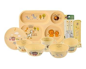 4ad72f365fa9 E-MART BPA Free, 100% Biodegradable Corn Made Kids Dinnerware Full Set, 9  Piece