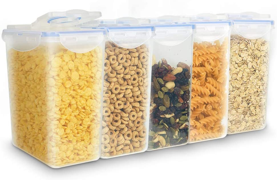 Intpro Food Storage Containers With Lids 1600ML/54OZ BPA Free Plastic Cereal Containers Airtight Cereal Dispensers Leakproof Pantry Organization For Sugar, Flour, Snack, Baking Supplies, Nuts 5Pack