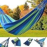CAMTOA Hamac en toile tricoté, 170x80cm, de Capacité de Charge jusqu'à 120 kg- Ultra-léger solide, avec sac à transport, idéal pour pour le camping, jardin, maison, en plein air bleu / rouge bande