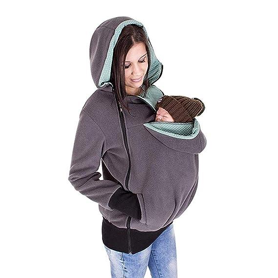 Hehong Porte-bébé à Capuche Veste Maternité Sweat Kangourou Poche Manteau  Veste pour Bébé Enceinte Portant Bébé Titulaire Pull Polaire Survêtement  Pull À ... e206811d7b3