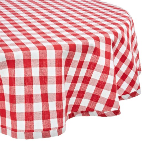 "DII 70"" Round Cotton Tablecloth, Red & White Check - Perfect for Fall, Thanksgiving, Farmhouse Décor, Dinner Parties, Christmas, Picnics & Potlucks or Everyday Use"