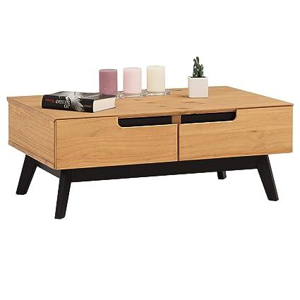 nouveaux styles 7ef17 203d5 IDIMEX Table Basse Tibor Style scandinave Design Vintage Nordique Table de  Salon rectangulaire avec 2 tiroirs et 2 niches, en pin Massif Finition Bois  ...