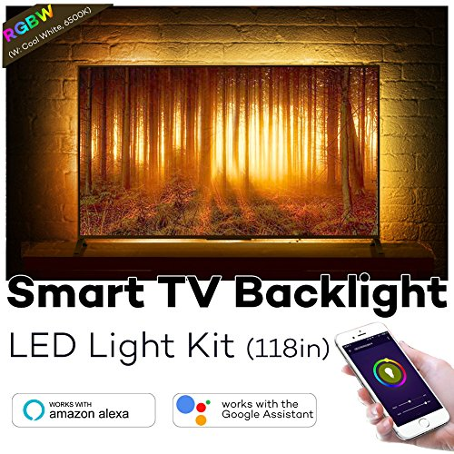 Megulla TV Bias Lighting, Smart Wifi RGBW LED Light Strips with Timer and Dimmer, 12V Power Supply, APP Control by Smart Phone, Works with Alexa and Google Assistant (118in Strips: Fit 55-70in TVs)