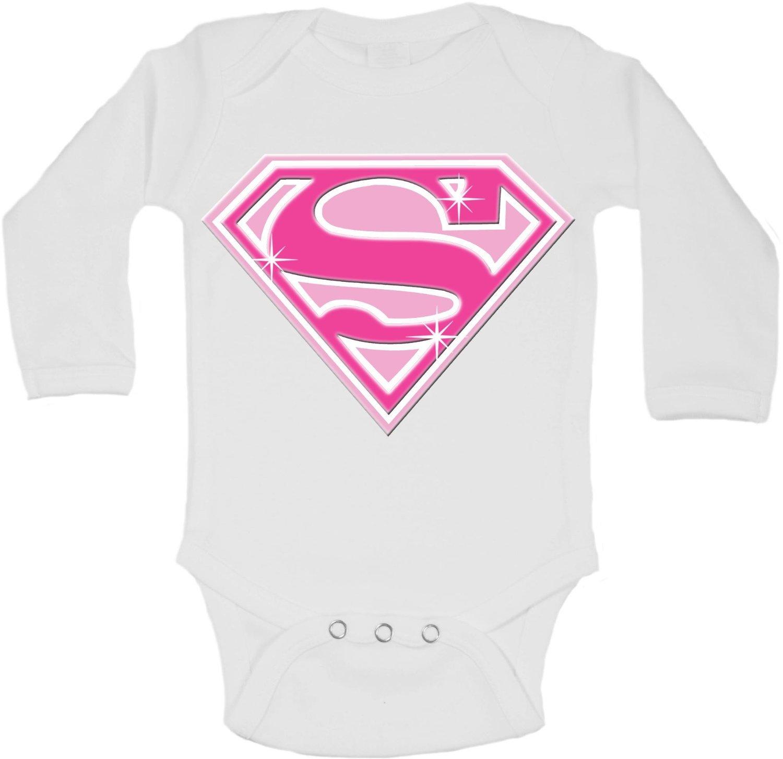 Super Girl Blanc 0 /à 3 mois Body /à manches longues personnalis/é pour b/éb/é fille