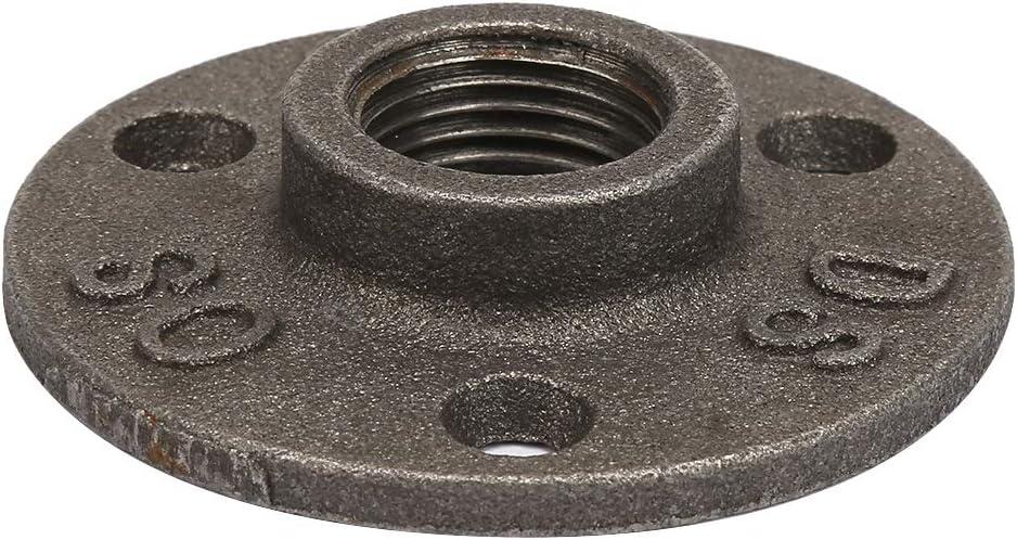 Gr/ö/ße : Aluminum alloy 2 Optional Flansch-10 st/ücke Rohrverbindungsst/ücke 3 L/öcher 65mm DN15 Gewindebohrung Schwarz Temperguss Flansch Basis Gewinde Boden Flansch
