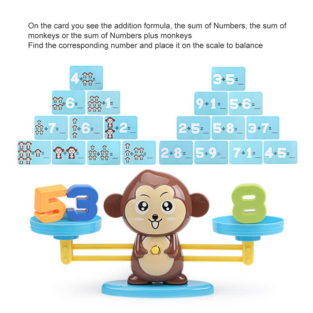 65PCS Monkey Balance Math Cards Number Blocks Educational Toys for 5 Years Old Kids Early Learning EUYUAN Monkey Balance Math Toys