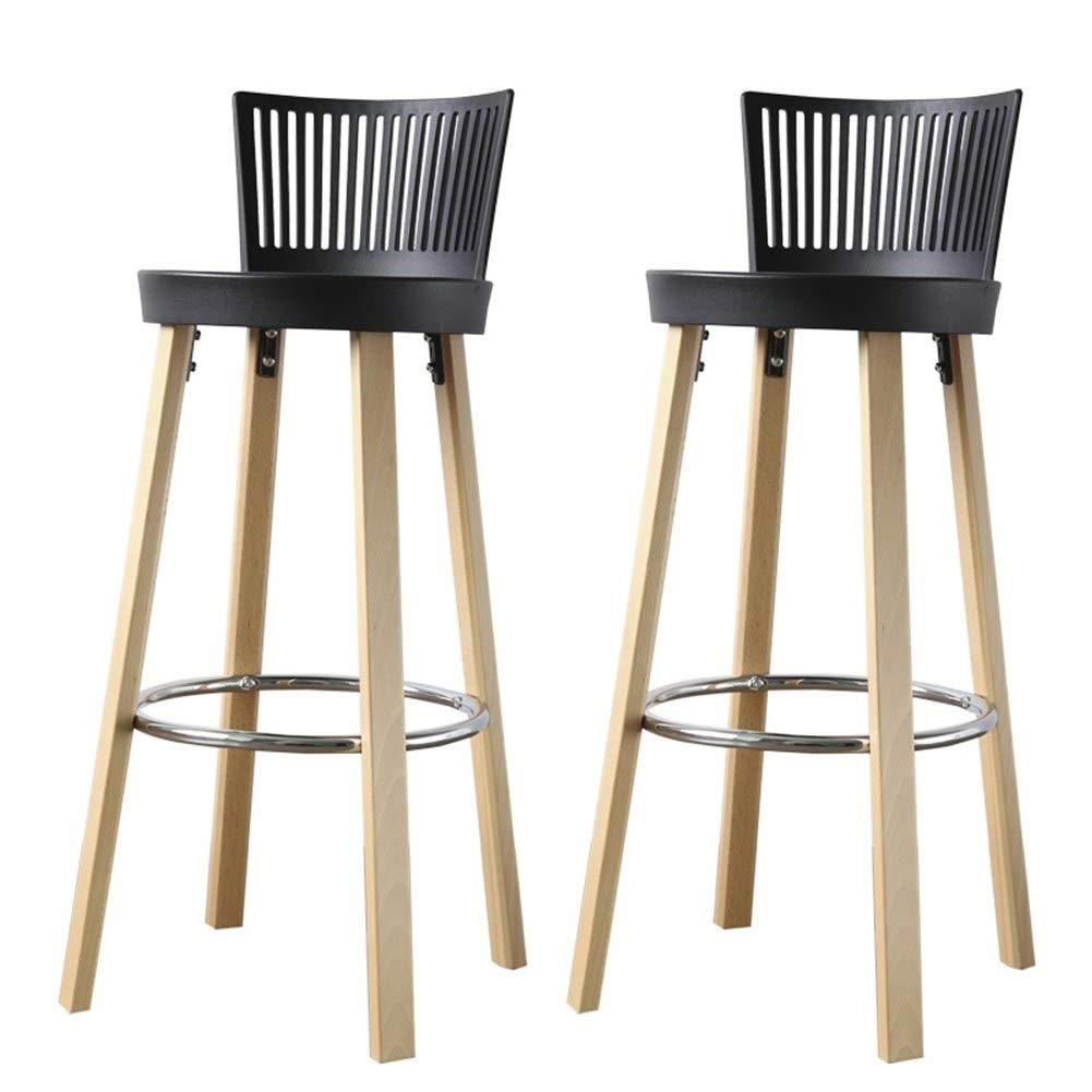 LIQICAI 2脚セット カウンターチェアバースツール ダイニングスツール PPの座席そしてあと振れ止めを使って、 キッチンダイニングバーチェア 木製の足 カウンターハイトスツール、 3色 (Color : Black, Size : 41x97cm) B07TF93HJ6 Black 41x97cm