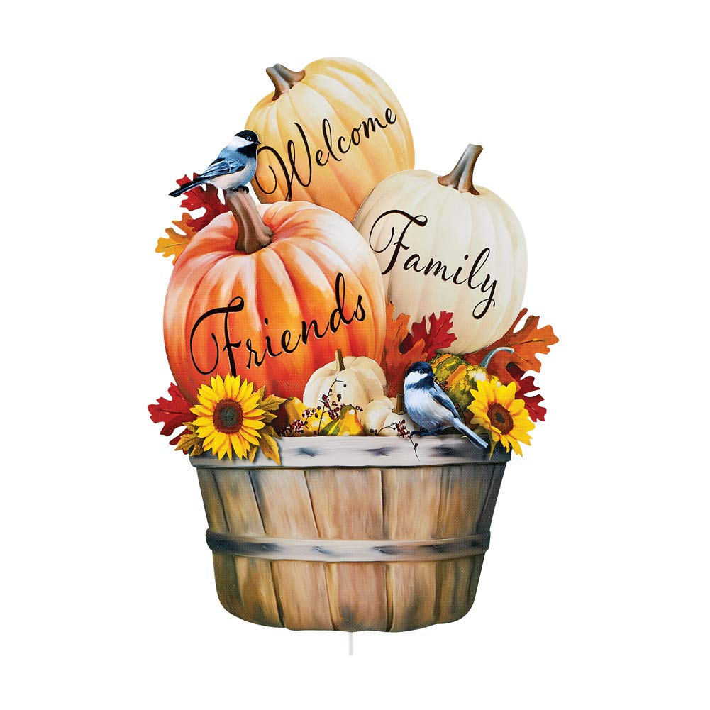 Collections Etc Welcome Pumpkin Harvest Metal Yard Stake Features Bushel Filled with Sunflowers, Leaves, Birds and Pumpkins