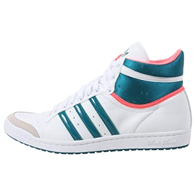 premium selection fc0e5 7f037 adidas Originals Women s Top Ten Hi Sleek Sneaker,White Teal Neon Red,