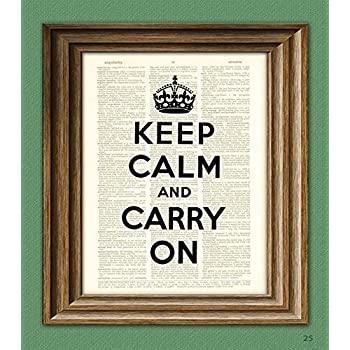 Keep Calm And Carry On Print quote upcycled vintage dictionary page book art print