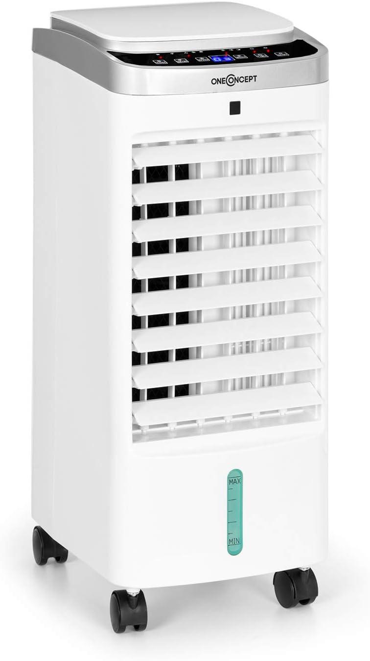 Oneconcept Freshboxx Pro - Ventilador 3 en 1, Enfriador de Aire, humidificador, 65W, 966m³/h, 3 Niveles de Potencia, depósito de 5 litros, oscilación Vertical y Horizontal a 120º, Blanco