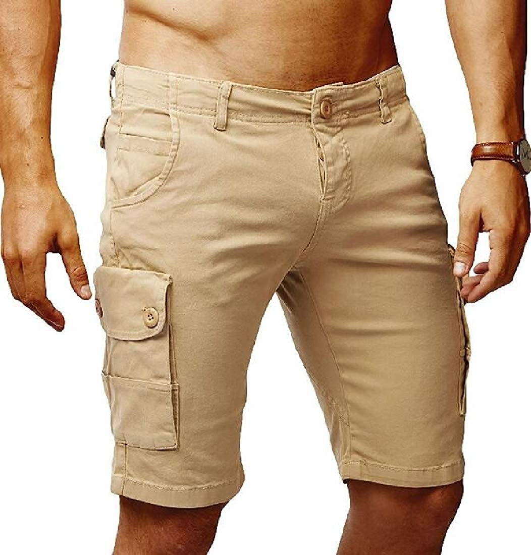 UUYUK Men Casual Pure Color Rugged Multi Pockets Straight Leg Relaxed Fit
