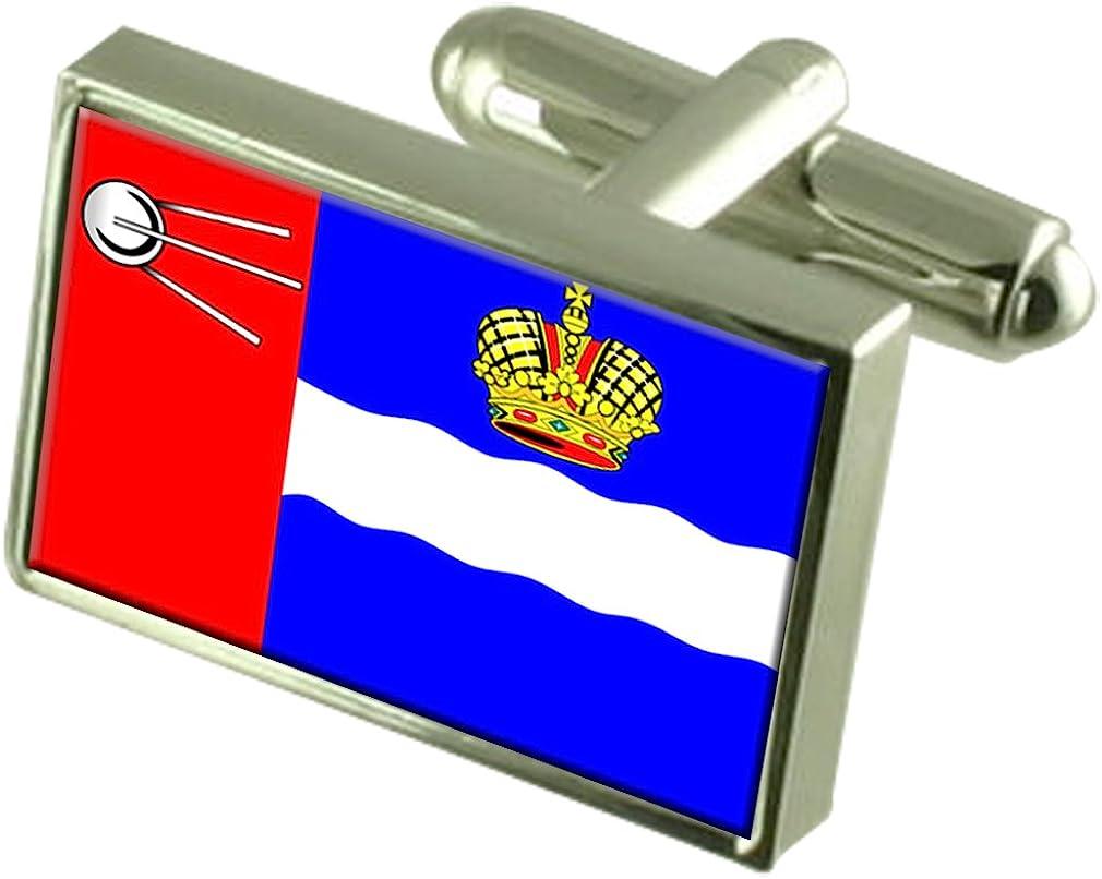 Kalvga City Russia Sterling Silver Flag Cufflinks Engraved Box