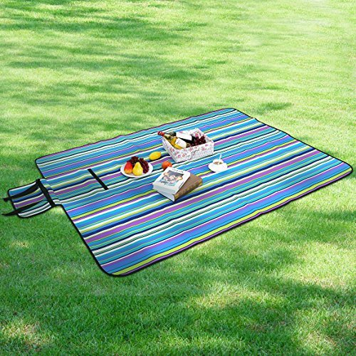 SONGMICS Picnic Blanket Waterproof Beach Mat Sand Proof Portable Camping Blanket with Shoulder Strap