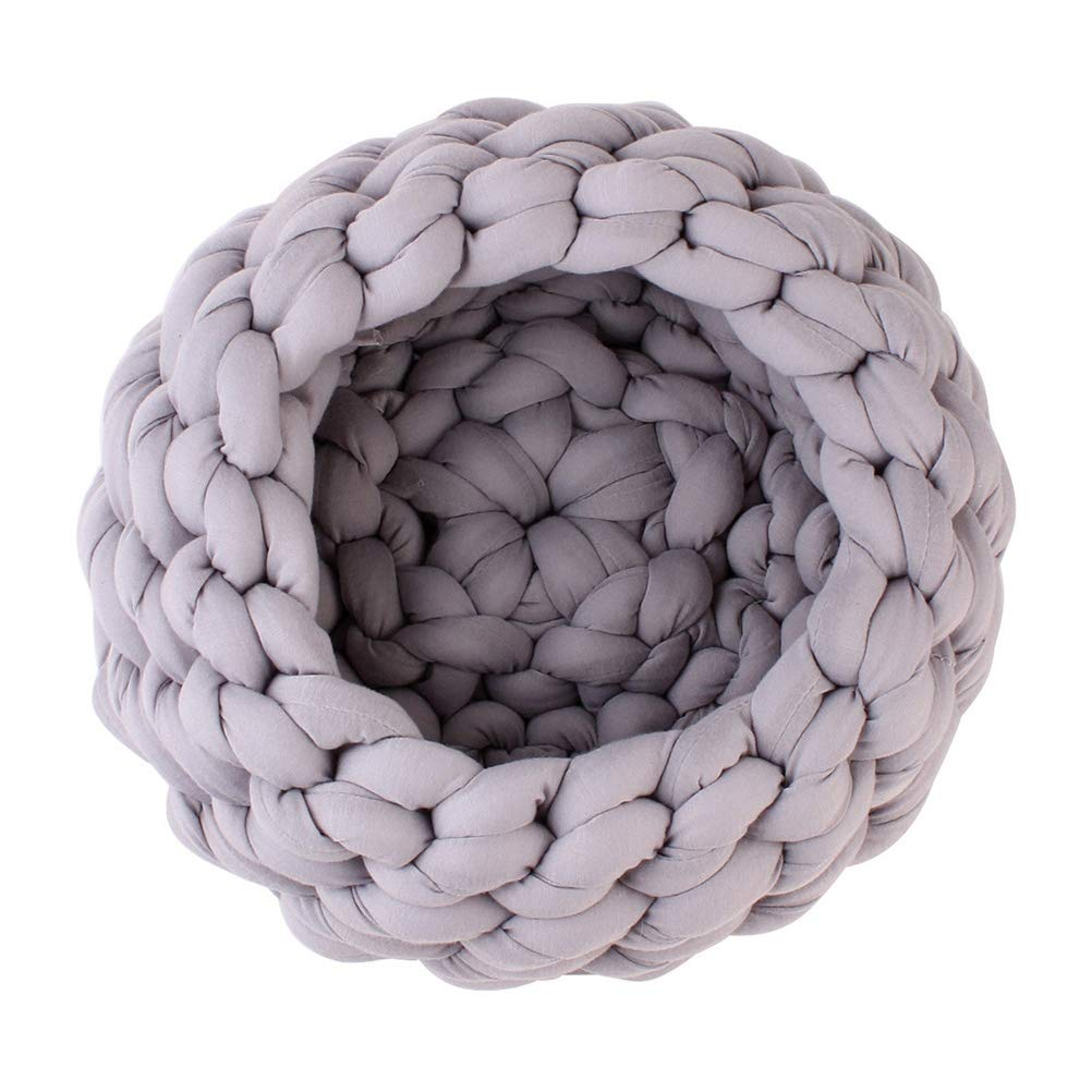 40cm POPETPOP Hand-Woven Cosy Pet Nest Mat, Super Coarse Wool Core Yarn Pet Bed Cushion for Small Dogs and Cats Grey, Diameter  40cm