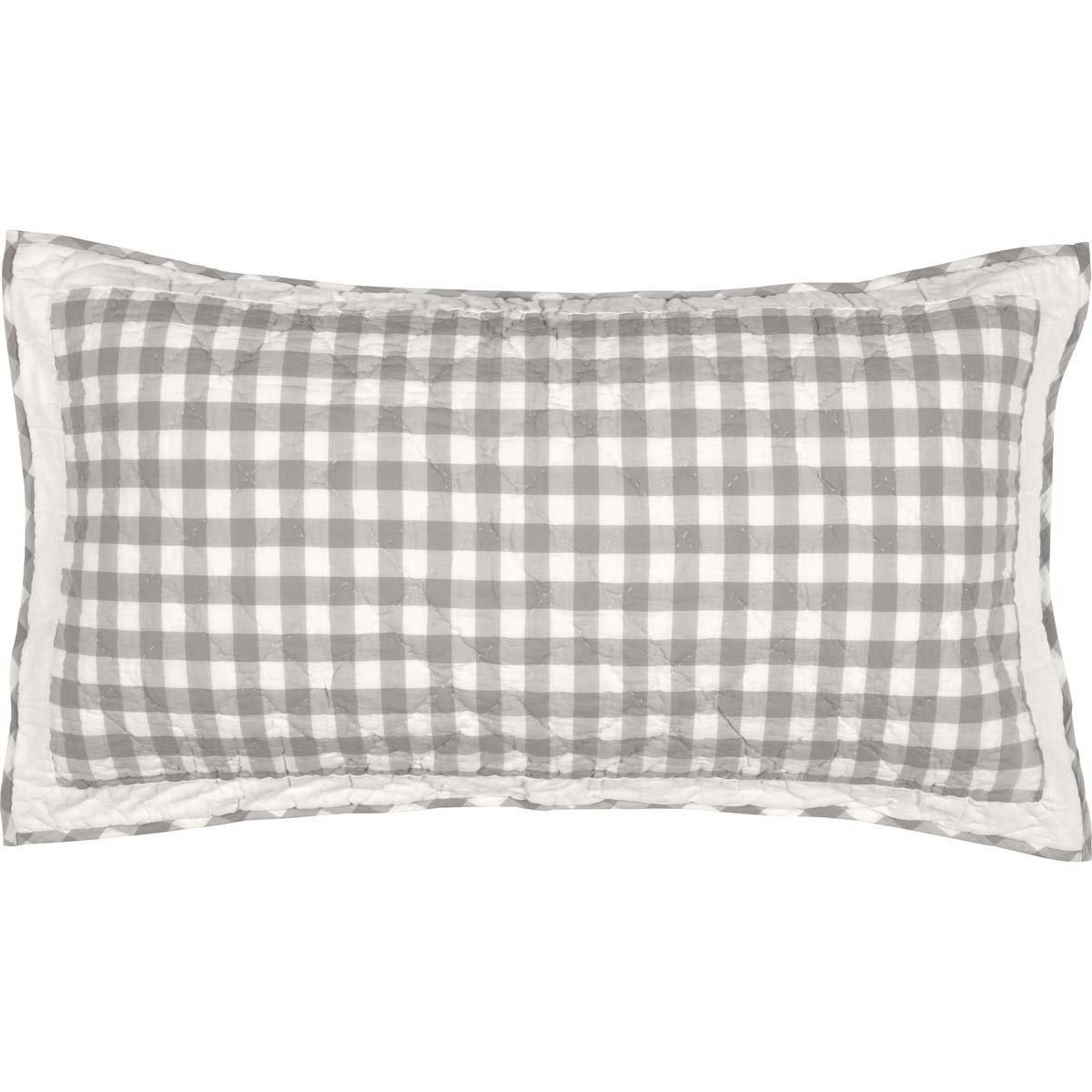 VHC Brands Farmhouse Bedding - Annie Buffalo Check White Sham, King, Grey
