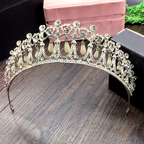 (SNOWH Wedding Tiaras for Women Vintage Bridal Rhinestone Crowns Jewelry Royal Pearl Hair Accessories,)