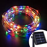 Livingly Light 100 LEDs Solar Powered Starry String Lights 39ft Copper Wire Fairy Lights Holiday Ambiance Lighting Décor for Outdoor Homes Gardens Weddings Christmas Parties, Multi-Color