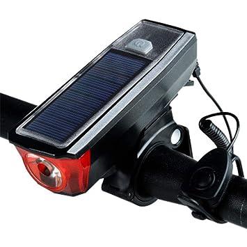 Luz de la Bicicleta Solar USB Modo de Carga Dual Alta decibelios ...