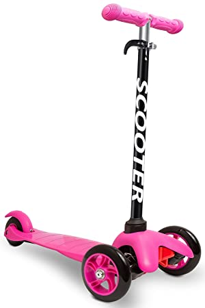 Den Haven Scooter for Kids - Deluxe Aluminum 3 Wheel Glider with Kick n Go, Lean 2 Turn, Step 4 Brake-Pink (Pink)