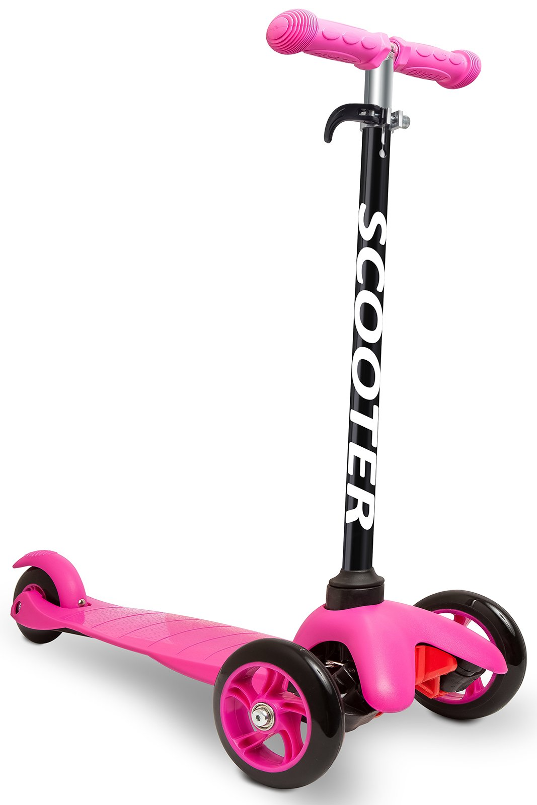 Den Haven Scooter for Kids - Deluxe Aluminum 3 Wheel Glider with Kick n Go, Lean 2 Turn, Step 4 Brake-Pink (Pink) by Den Haven (Image #1)