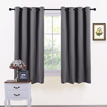 Pony Dance Grey Window Curtains Window Covering Thermal Grommet Light Blocking Panels Drapes Blackout Blinds Home Decor For Bedroom 52 Width By