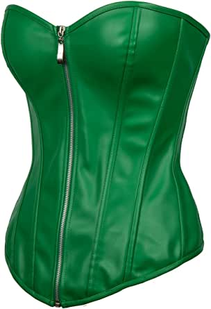 Leather Green Corset Zip Halloween Party Costume Steampunk Overbust Bustier Top