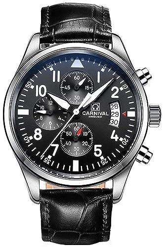 1e137f98fb6 Chronograph Quartz Watch Men s Stainless Steel Multi Function Dial Black  Sapphire Glass Waterproof Watch (Genuine