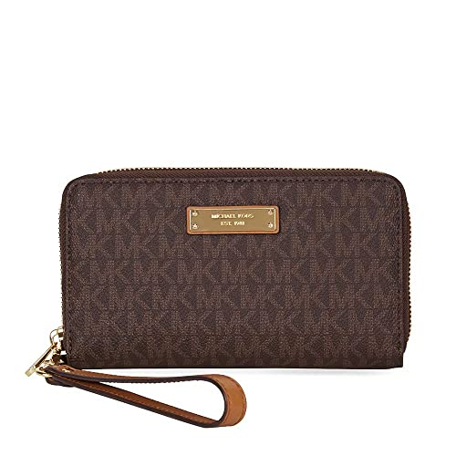 87aae8357e06 MICHAEL Michael Kors Women's Large Logo Smartphone Wristlet One Size Brown:  Amazon.co.uk: Shoes & Bags