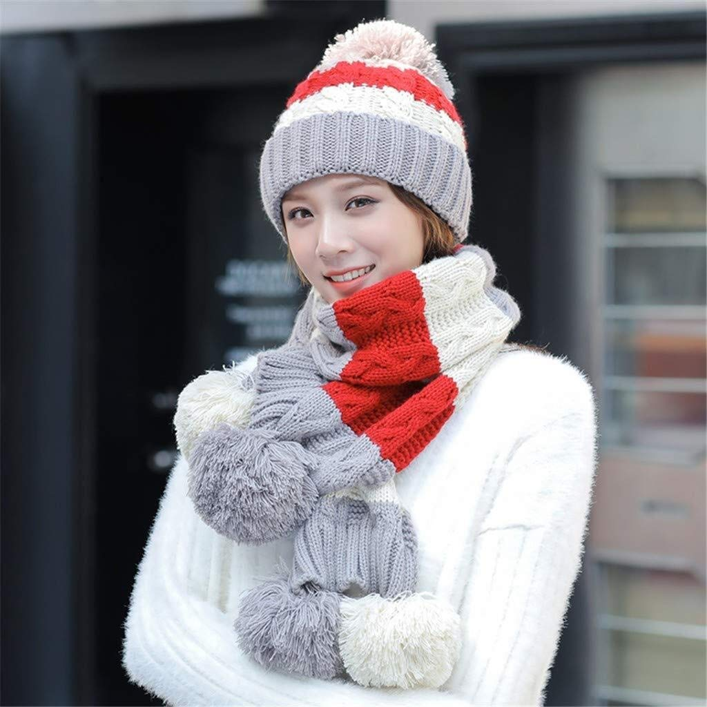 Tuyishangmao Winter Cap Set, Cute Simple Casual Two-Piece Windproof Scarf Hat Set (Color : Beige, Size : M)