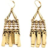 "Gold Colored Egyptian Princess Antique Dangle Earrings, 8.5"""