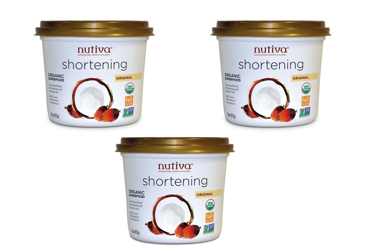 Nutiva Red Palm Shortening Organic Superfood, 15 Ounce [3 Pack] by Nutiva