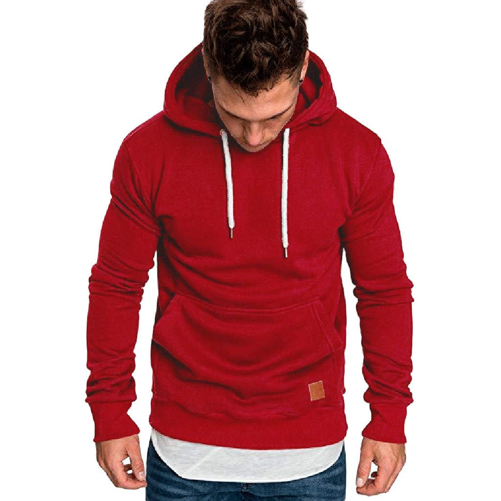 Kauneus Men's Cotton Heavyweight Pullover Hoodie Sweatshirt Autumn Winter Soft Casual Solid Hooded Tops Red by Kauneus Women Clothing