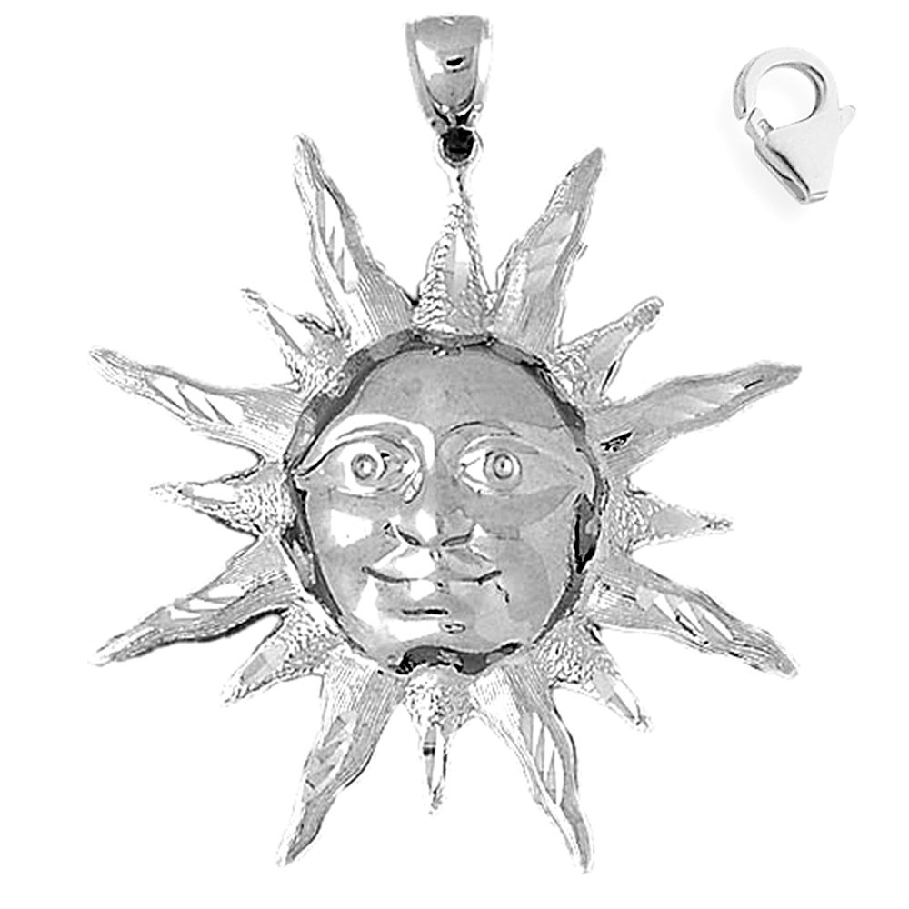 JewelsObsession Sterling Silver 50mm Sun Charm w//Lobster Clasp