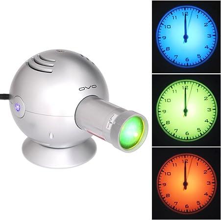 Reloj de pared luz de proyección proyector – Analógico (plata ...