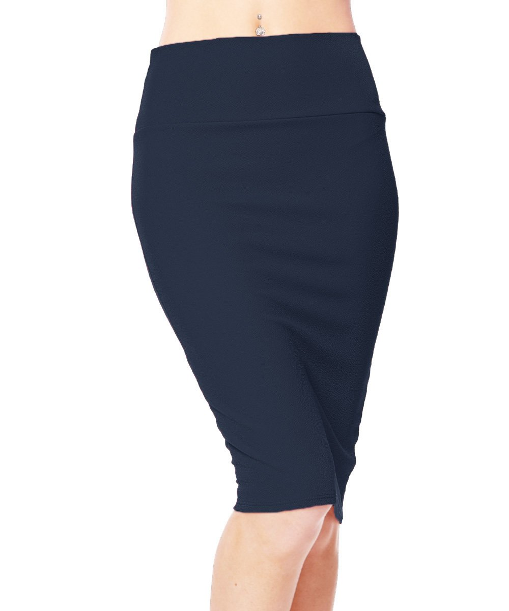 Urban CoCo Women's High Waist Stretch Bodycon Pencil Skirt (L, Navy Blue)