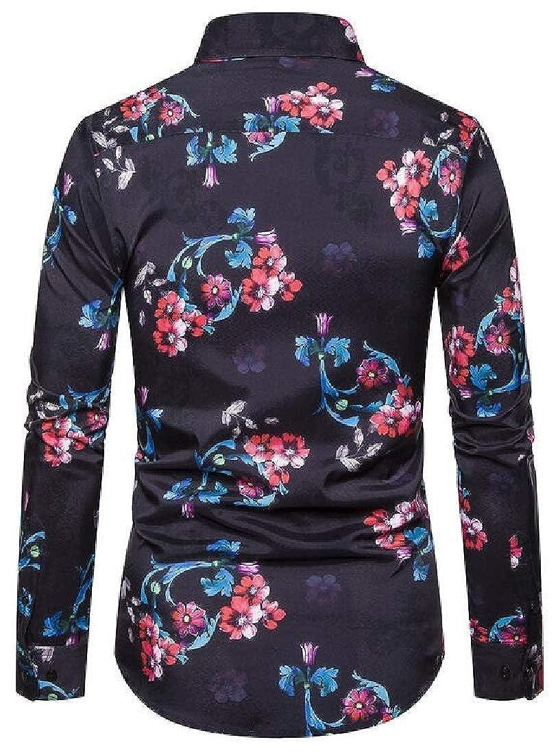 YYG Mens Slim Stretchy Floral Print Stylish Fall Winter Long Sleeve Dress Shirt