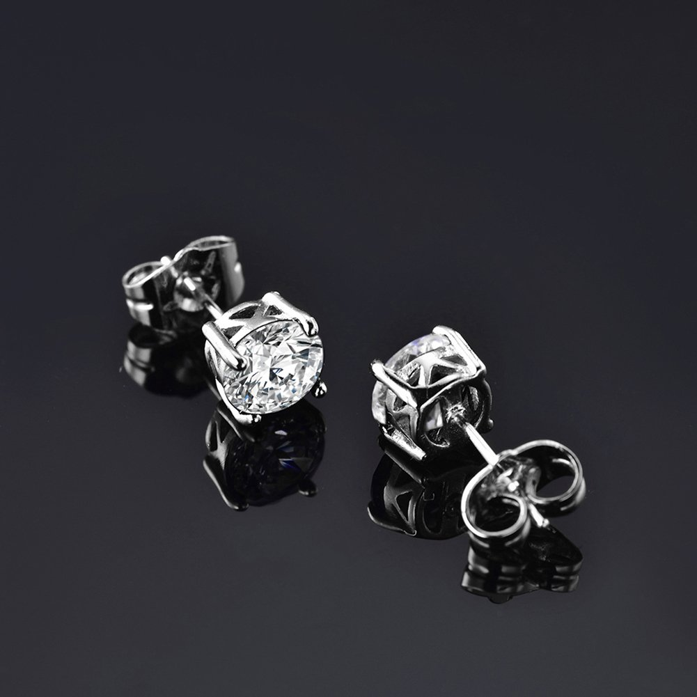 18K White Gold Plated Minimalist Round Clear Crystal Jewelry White CZ Stud Earrings for Women Girls
