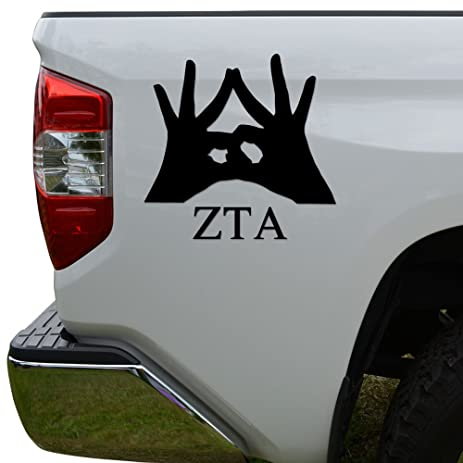 Greek sorority hand sign zeta tau alpha die cut vinyl decal sticker for car truck motorcycle