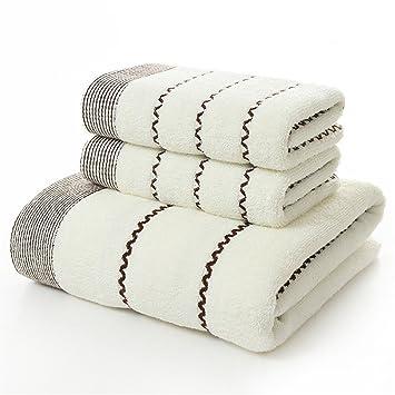 DACHUI Toalla de algodón espesar una toalla de baño Set de toallas de tres piezas, blanco: Amazon.es: Hogar