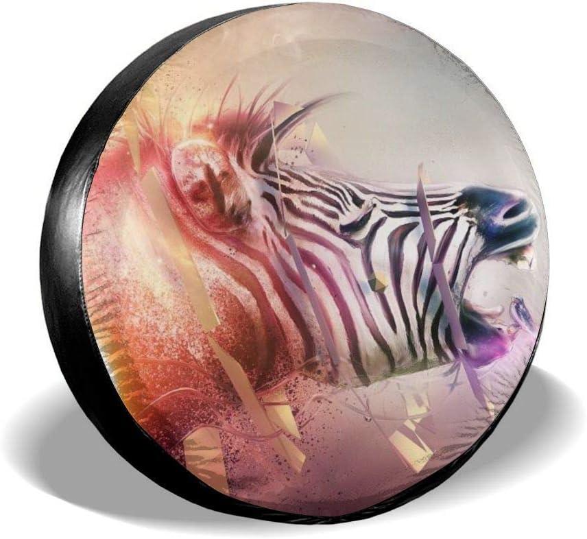 Y.Z.L. Funda para Neumáticos Cubierta para Rueda de Repuesto Protección Bolsa de Almacenamiento Fantasy Zebra 14/15/16/17inch